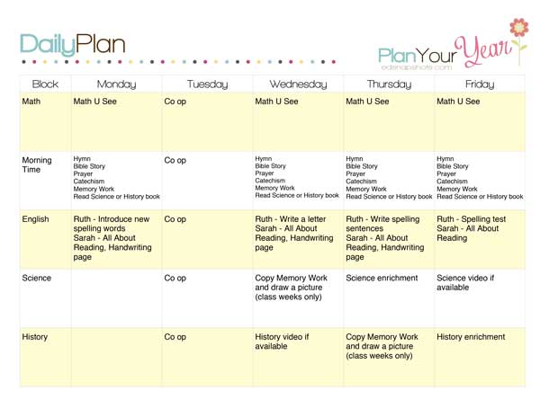 Sample Homeschool Schedule Pam Barnhill Homeschool Solutions