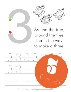 Tracer Page Learn to Write Numbers Three
