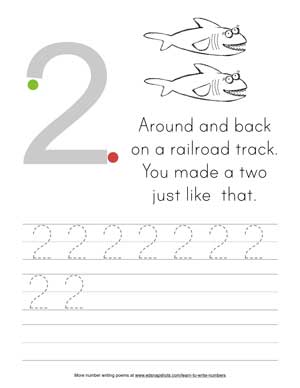 Learn to write numbers Two-tracer