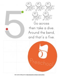 Five Preschool Learn to Write Numbers