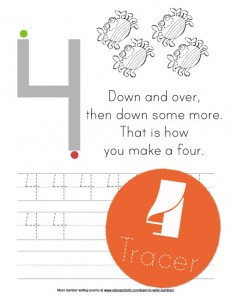 Four Tracer Learn to Write Numbers