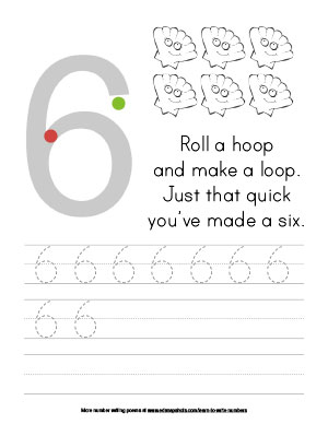 Learn to Write Numbers Printable: Six