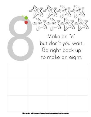 Learn to Write Numbers Eight Preschool Version
