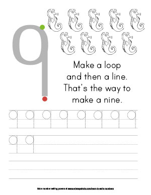 Learn to Write Numbers Nine Tracer Version