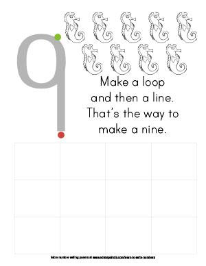 Learn to Write Numbers Nine Preschool Version