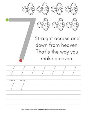 Learn to Write Numbers: Seven Tracer Worksheet