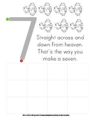 Learn to Write Numbers: Seven Preschool Worksheet
