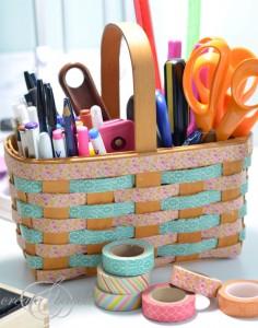 Washi Tape Basket for the Homeschool Room
