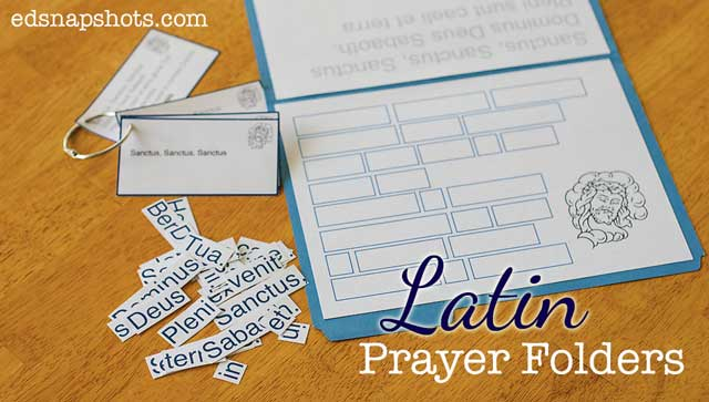 Latin Games and Printables Prayer Folder Feature