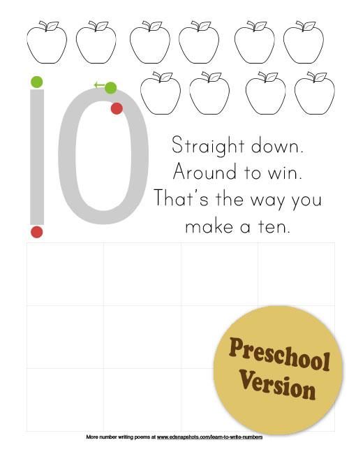 Learn to Write Numbers Fall Theme Ten