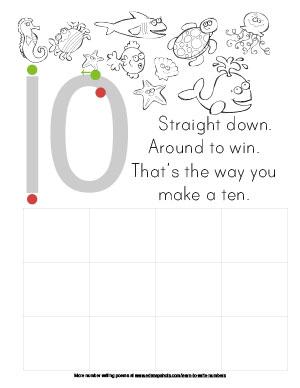 Learn to Write Numbers Ten Preschool Version