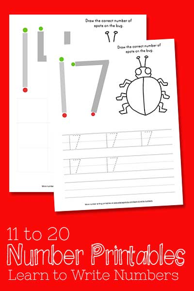 Learn to Write Numbers 11-20 Free Printables