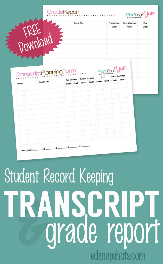 Free Homeschool Planner Transcript and Grade Report