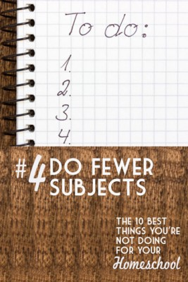 Fewer Subjects - The 10 Best Things You're Not Doing for your Homeschool