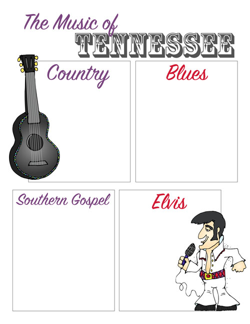 US Geography Tennessee Music Printable
