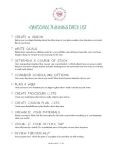 Ten Steps to the Perfect Homeschool Plan Checklist