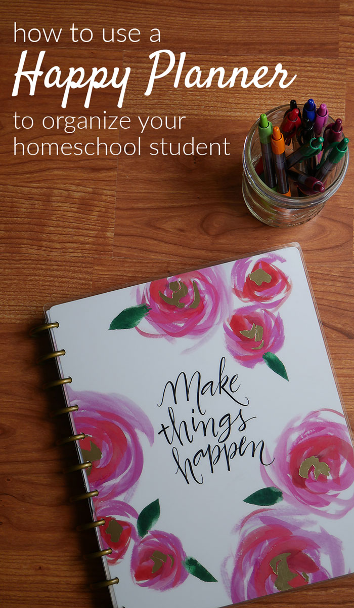 The disc-bound Happy Planner system is the perfect way to organize your homeschool student. Use a punch and tabs to put in every paper they will need!