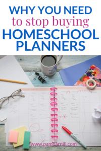 stop buying homeschool planner pin