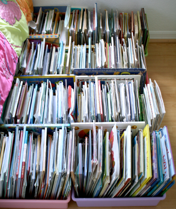 organized books in crates