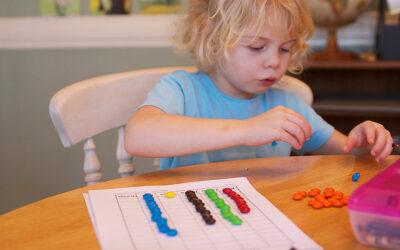 girl doing candy math